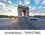 dusk time with dramatic sky... | Shutterstock . vector #745417960