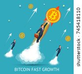bitcoin is fast growing.... | Shutterstock .eps vector #745418110