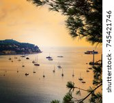 panoramic view of coastline and ... | Shutterstock . vector #745421746