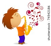 Vector illustration. Cartoon saxophonist with abstract music note - stock vector