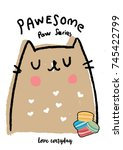 pastel cat illustration with...   Shutterstock .eps vector #745422799