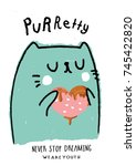 pastel cat illustration with...   Shutterstock .eps vector #745422820
