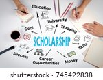 scholarship concept. chart with ... | Shutterstock . vector #745422838