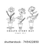 outline sketch flowers with... | Shutterstock .eps vector #745422850
