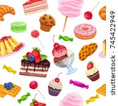 vector seamless pattern with... | Shutterstock .eps vector #745422949