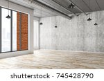 abstract interior with city... | Shutterstock . vector #745428790