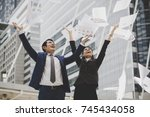 business people are throwing up ... | Shutterstock . vector #745434058