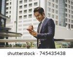 portrait of happy businessman...   Shutterstock . vector #745435438
