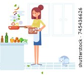 young woman cooking in the... | Shutterstock .eps vector #745436626
