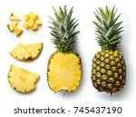 fresh whole and cut pineapple... | Shutterstock . vector #745437190