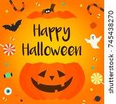 happy halloween card vector... | Shutterstock .eps vector #745438270