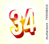number thirty four 34 with... | Shutterstock . vector #745438414