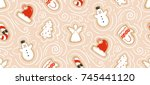 hand drawn vector abstract fun... | Shutterstock .eps vector #745441120