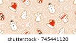 hand drawn vector abstract fun... | Shutterstock .eps vector #745441120