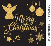 merry christmas text for card... | Shutterstock .eps vector #745443610