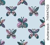 hand drawn seamless pattern ... | Shutterstock . vector #745447423