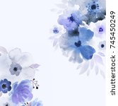 blue and violet wildflowers... | Shutterstock . vector #745450249
