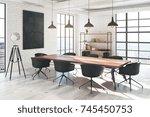 side view of modern white brick ...   Shutterstock . vector #745450753