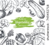 vector frame with vegetables .... | Shutterstock .eps vector #745452718