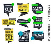 cyber monday sale banner set... | Shutterstock .eps vector #745455283