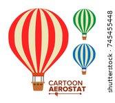 aerostat balloon vector.... | Shutterstock .eps vector #745455448