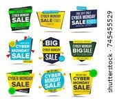 cyber monday sale banner vector.... | Shutterstock .eps vector #745455529