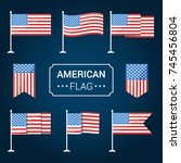 set of american flags. vector... | Shutterstock .eps vector #745456804