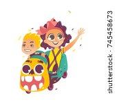 vector flat hand drawn children ... | Shutterstock .eps vector #745458673