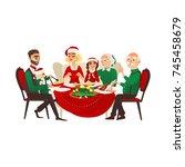 vector cartoon family in... | Shutterstock .eps vector #745458679