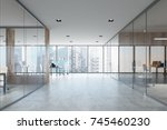 white open space office... | Shutterstock . vector #745460230