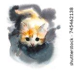 kitten hunts. domestic cat.... | Shutterstock . vector #745462138