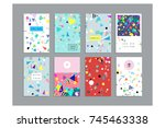 collection of party cards and... | Shutterstock .eps vector #745463338