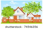 rural landscape, small house with fence and garden vector illustration - stock vector