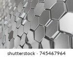 silver abstract hexagonal... | Shutterstock . vector #745467964