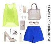 fashion set outfits | Shutterstock . vector #745469563