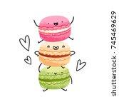 crazy yummy macarons vector... | Shutterstock .eps vector #745469629