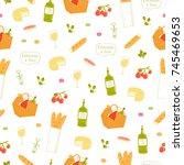 paris picnic seamless pattern   Shutterstock .eps vector #745469653