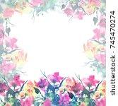 watercolor frame  border ... | Shutterstock . vector #745470274