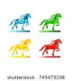 diamond horse logo vector | Shutterstock .eps vector #745473238