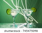 two glasses with margarita