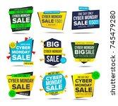 cyber monday sale banner.... | Shutterstock . vector #745479280
