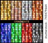 set of vector gradients... | Shutterstock .eps vector #745479664