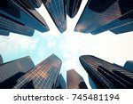 low angle view of skyscrapers.... | Shutterstock . vector #745481194