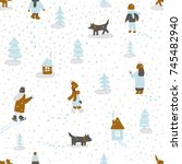 hand drawn vector fun winter...   Shutterstock .eps vector #745482940