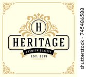 vintage luxury monogram logo... | Shutterstock .eps vector #745486588