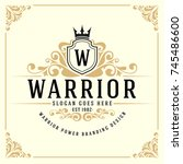 vintage luxury monogram logo... | Shutterstock .eps vector #745486600