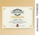 vintage elegant certificate of... | Shutterstock .eps vector #745488358