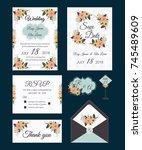 vector set of invitation cards... | Shutterstock .eps vector #745489609