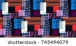 memphis seamless  pattern in... | Shutterstock .eps vector #745494079