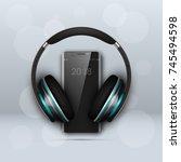 image headphones on smartphone...   Shutterstock .eps vector #745494598